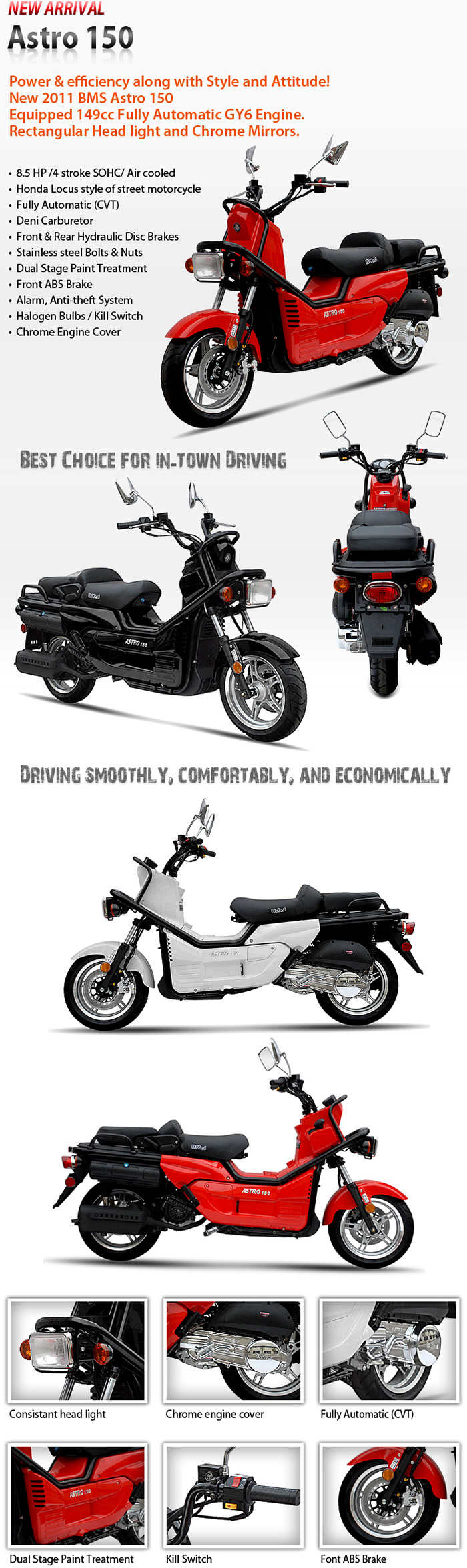 2013 bms 150cc moped scooter astro 150 w remote dual. Black Bedroom Furniture Sets. Home Design Ideas