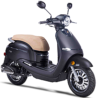 "2017 ZNEN 50cc Scooter F10-50 with 12"" Big Tires, Dual Disc Brakes, Remote start, Anti-theft Security Key Ignition and Alarm System, USB Port, EPA/DOT/CARB 99.9% assembled. Free shipping to your door, free helmet and 1 year bumper to bumper warranty."