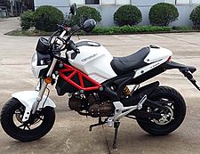 "99% Assembled 50cc Street Bike Manual 4 Speed with 12"" Tires, Inverted (Upside Down) Forks, Dual Disc Brakes, 12"" Tires (MC-163-50), free shipping to your door, free helmet. 1 Year bumper to bumper warranty."