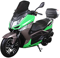 "ICE BEAR 150cc Exclusive Edition Scooter Moped PMZ150-T9 comes with bright LED lights, 13""/14"" Big Tires, Dual Disc Brakes, Dual Shocks, Big windshield. Free shipping to door, free lift-gate service, free helmet, free 1-year warranty."