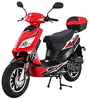 "TAOTAO THUNDER 50cc Scooter Fully Automatic with Rear Trunk, 12"" Tires & Polished Aluminum Rims, Dual Rear Shocks. Free shipping to your door. Free scooter helmet, 1 year bumper to bumper warranty."