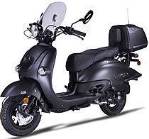 "2017 ZNEN ""Blackout"" 150cc Scooter ZN150T-H with Windshield, Remote, Alarm, USB Port, Rear trunk, Backrest, EPA, DOT, CARB Approved, 99.9% assembled. Free shipping to your door, free helmet and 1 year bumper to bumper warranty."