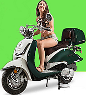 2017 ZNEN Vintage 150cc Scooter ZN150T-G with Windshield, Remote Start, Anti-theft Alarm, USB Port, Rear Box, Backrest, White Wall Tires EPA, DOT, CARB Approved, 99.9% assembled. Free shipping to your door, free helmet and 1 year bumper to bumper warranty